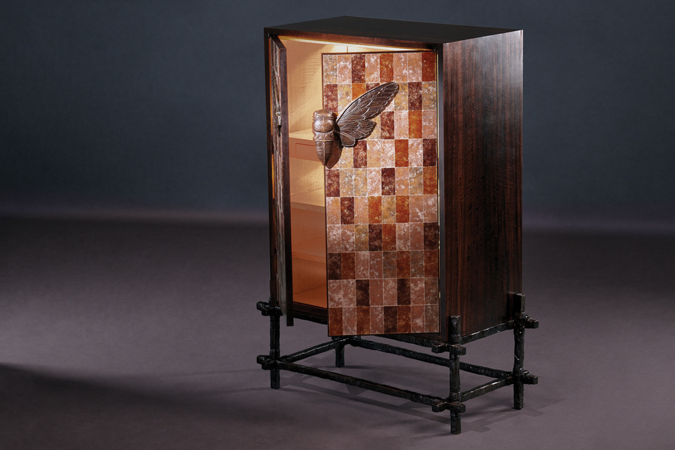 Cicada Bar Cabinet FG003676 Intarsia An entertaining cabinet that exudes the spirit of the French Riviera in summer; shimmering waters, floating insects on the breeze and the sounds of jazz and launghter
