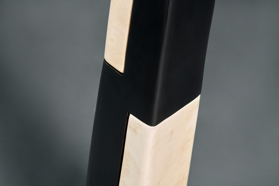 Basilica Floor Lamp FG003693 Intarsia A black bronze-patina sculptural tower is completed with individually hand-shaped parchment blocks to create a  unique and striking light. Inspired by the acrolith sculptures of ancient Greece.