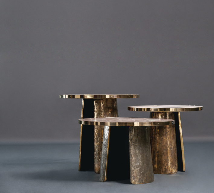 Pave Table Tall; FG003680 Pave Table Small; FG003681 Pave Table Low; FG003682  Intarsia Bracelets, gauntlets, cuffs-ancient sculpted forms as room accents creating a group of unique surfaces that work beautifully together or apart. Cast rubbed and patinated brass bases with rich surface texture, dark within and polished outside. Tops are edged with polished brass, and the surface is made with natural chocolate or natural speckle shagreen inlaid with triangles of lacquered eggshell.