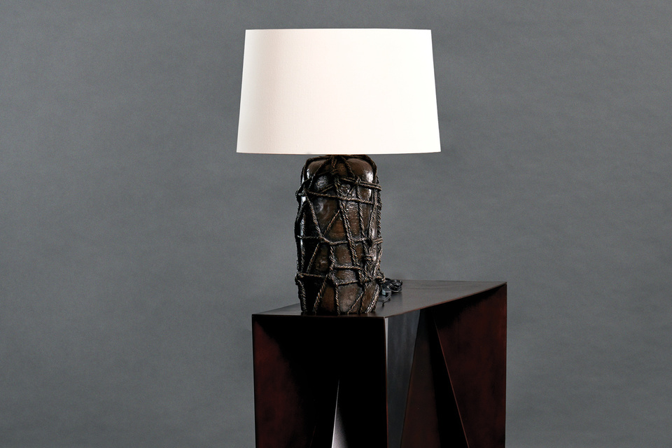 Reef Table Lamp FG003694 Intarsia A lost-wax cast monolith tied around with thick ropes creates a powerful sculptural presence for lighting.