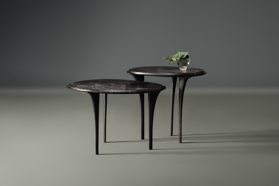 FG004724, FG004725, Quill Side Table ,  Black Marble, Tall,  Low