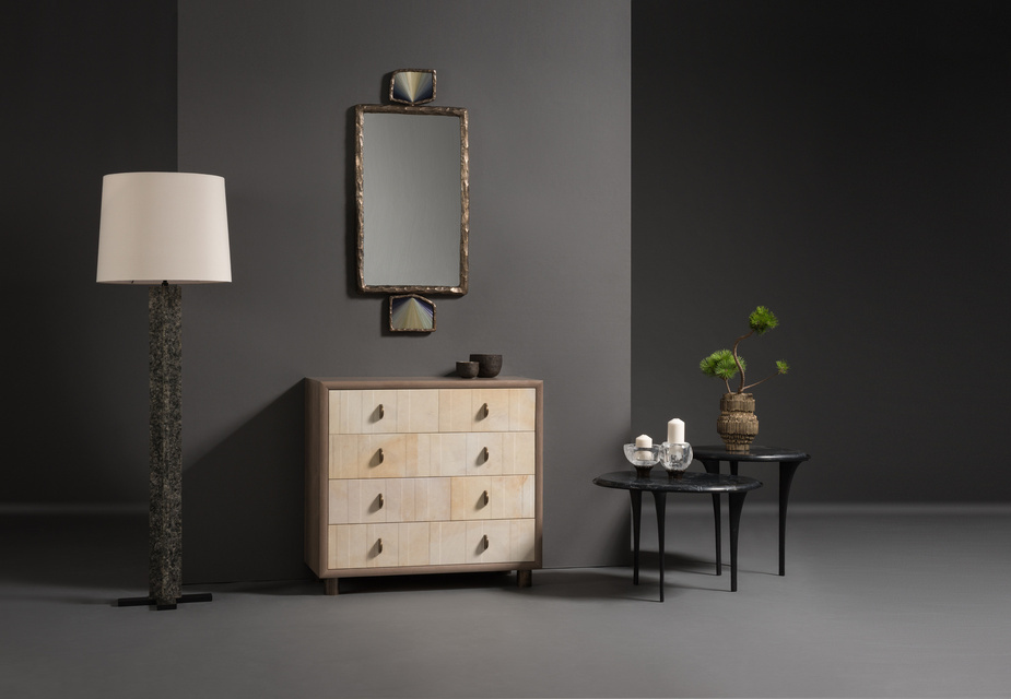 FG004670, Muscovite Floor Lamp, FG004643, Dover Tansu, FG004724, Quill Side Table - Tall, FG004725, Quill Side Table - Low, FG004668, Amulet Mirror - Rectangle,  FG004123, Paglia Vases, FG004096, FG004095, Orb Candleholders, FG004008, FG004007, Fuma Bowls